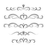 Black decorative curly elements and ornaments Royalty Free Stock Image