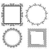 Black decorative frames on white background. Vector royalty free illustration