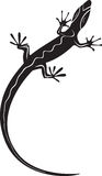 Black decorative lizard silhouette tattoo Stock Photography
