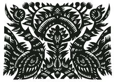 Black decorative pattern with birds and flowers Stock Photo