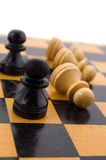 Black defeats white. Chess concept, black defeats white Stock Photography