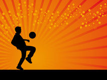 Black defender footballer vector orange background Stock Photo