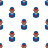 Black Delivery Boy Avatar Seamless Pattern Royalty Free Stock Photos