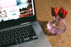 Black Dell Laptop Beside the Pink Glass Vase Stock Photography