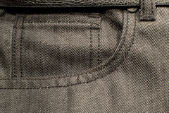 Black denim close up pocket. Black denim with close up of pocket Royalty Free Stock Photo