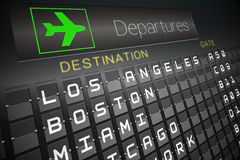 Black departures board for american cities Stock Images