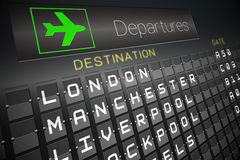 Black departures board for england Stock Photography