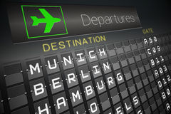 Black departures board for german cities Stock Image