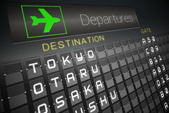 Black departures board for japan Stock Photos