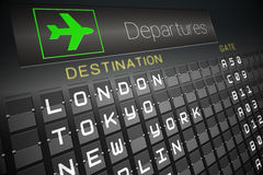 Black departures board for major cities Royalty Free Stock Image