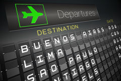 Black departures board for south america Royalty Free Stock Photos