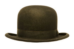 A Black Derby or Bowler Hat. Isolated against a white background Stock Photos