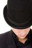 Retro stylish man in black hat and suit Royalty Free Stock Image