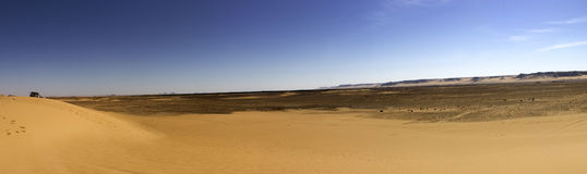 Black desert panorama, Oasis area, Egypt. royalty free stock photos