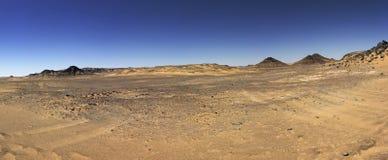 Black desert panorama, Oasis area, Egypt. Stock Photos