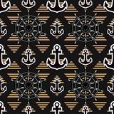 Dark design background. Anchor Wheel Vector seamless pattern isolated on black background. Male nautical texture decor. Black design background. Anchor Wheel Royalty Free Illustration