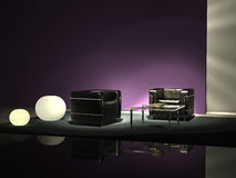 Black design chairs. Two black leather armchairs against purple wall Stock Photo
