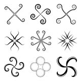 Black design elements against white Stock Images