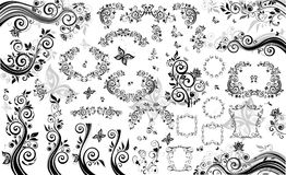Black design elements. Collection of floral black design elements Royalty Free Stock Photos