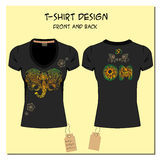 Black design T-shirts  with a picture paisley ornament Stock Images