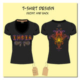 Black design T-shirts  with a picture paisley ornament Royalty Free Stock Photo