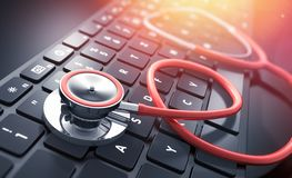 Stethoscope on a computer keyboard royalty free illustration