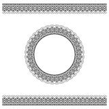 Black detailed border and circle frame Stock Image
