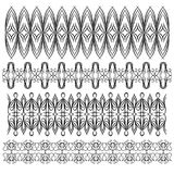 Black detailed trims or border collection over white background Royalty Free Stock Photography