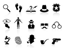 Black detective icons set. Isolated black detective icons set on white background Royalty Free Stock Images
