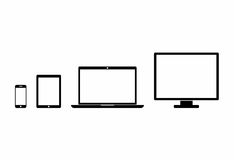 Black Device Icons in flat style  on white background. Royalty Free Stock Images