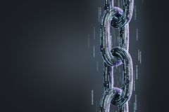 Black diagonal chain, a blockchain concept, black. Vertical chain made of zeros and ones. Cryptocurrency and mining. A bitcoin metaphor. Black background. 3d Stock Photos