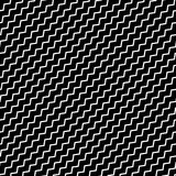 Black diagonal lines seamless pattern. Wavy, zigzag distorted li Stock Photography