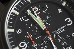 Black dial men's chronograph wrist watch Stock Photo