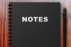 Black diary with notes Royalty Free Stock Photo
