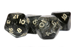Black dice. Used for fantasy roleplaying games on white background Stock Photography