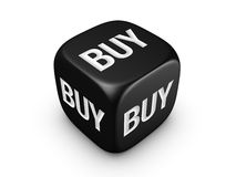 Black dice with buy sign Royalty Free Stock Photography