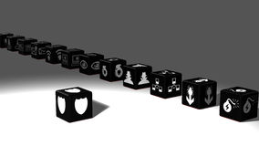 Black dice in a row cybersecurity concept Stock Images