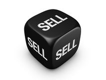 Black dice with sell sign Royalty Free Stock Image