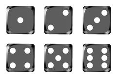 Black dice, top view Stock Images