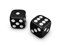 Black dice on white background. Black dice isolated on white background Stock Photography