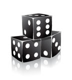 Black dice with white dots in stack Stock Photos