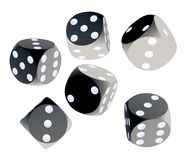 Black dices. Isolated black dices on white background - 3d render illustration Stock Photos