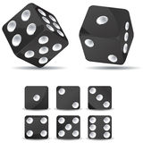 Black dices. Set of black dices isolated on white background Royalty Free Stock Photo