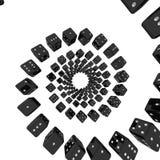 Black dices twisted around Stock Image