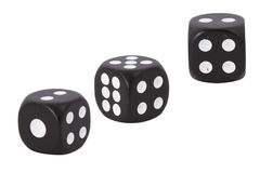 Black dices on white background. Stock Image