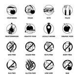 Black Diets Pictogram Set Royalty Free Stock Image