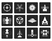 Black different kinds of future spacecraft icons Stock Photography
