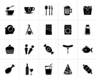 Black Different king of food and drinks icons. 1 - vector icon set royalty free illustration