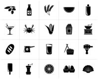 Black Different king of food and drinks icons. 3 - vector icon set vector illustration