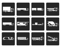 Black different types of trucks and lorries icons. Vector icon set Stock Image